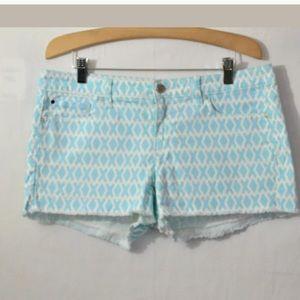 Gap 1969 Blue Aqua Print Maddie Shorts Size 30
